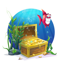Chest of gold and fish in the sand underwater