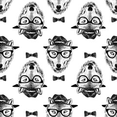 Fototapete - seamless pattern dressed up wolf