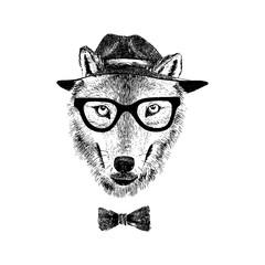 Fototapete - Dressed up wolf