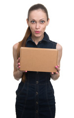 attractive woman with parcel. Isolated