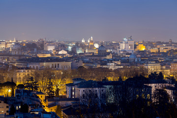 Foto op Canvas Barcelona View of Rome, taken from gianicolo hill, at night