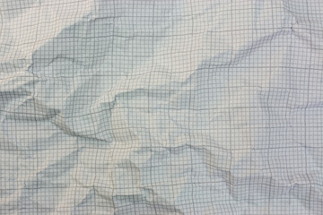 Close up of crumpled graph paper