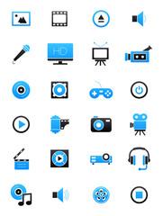 Turquoise-black multimedia icons set