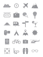 Gray traveling icons set
