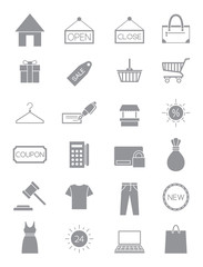 Gray shopping icons set