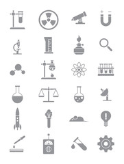 Gray science icons set