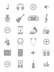 Gray music icons set