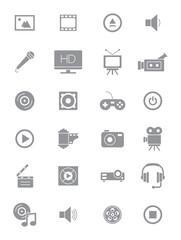Gray multimedia icons set