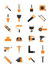 Black-orange contruction icons set