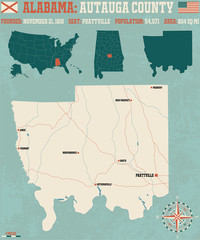 Large and detailed map and infos about Autauga County in Alabama.