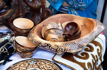 Kazakh ethnic dishes in the market