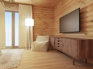 Wood TV console with a comfortable white armchair and a floor la