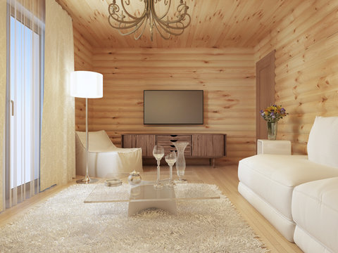 living room interior in a log house with the console and TV.