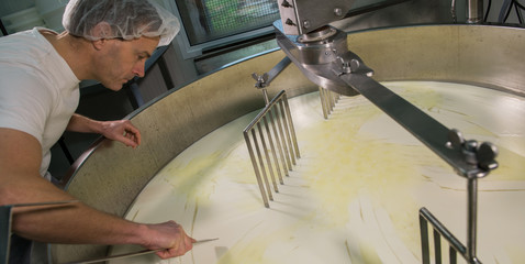 Cheesemaker -Traditional cheese making at a creamery,