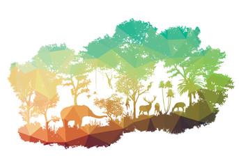 animal of wildlife Including elephant, monkeys, deers, rabbits, birds
