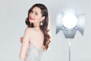 Female model posing in fashion dress