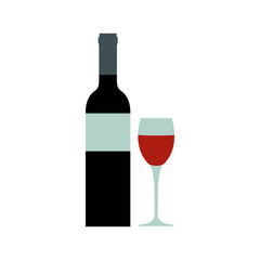 Red wine bottle icon, flat style