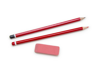 pencils and eraser isolated on white