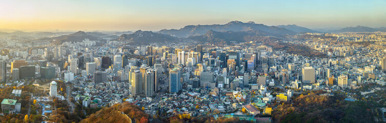 Aluminium Prints Seoul Seoul city South korea panorama,sunset time