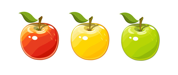 Ripe juicy apple set of vector illustration