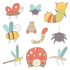 Cute hand drawn doodle insects collection