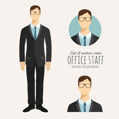 Young businessman in flat style. Set of avatar icons.