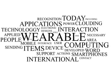 Wearable computing terms in the shape of a cloud