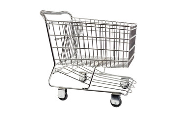 Shopping Cart Side Shot Isolated On White