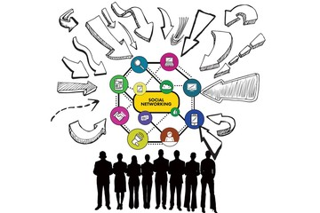 Composite image of business people and social networking icons
