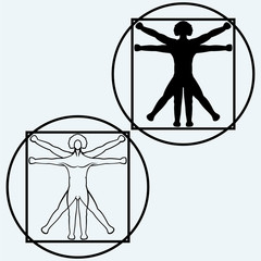 Vitruvian man. Isolated on blue background. Vector silhouettes