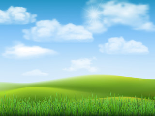 Nature landscape with sky, hills and grass on foreground.