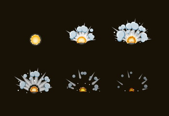 Sprite sheet for cartoon fog fire explosion, mobile, flash game effect animation. 8 frames on dark background.