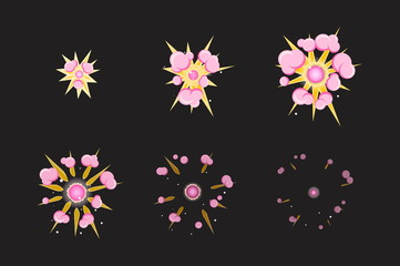 Sprite sheet for cartoon pink fog fire explosion, mobile, flash game effect animation. 8 frames on dark background.