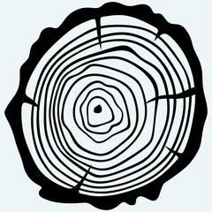 Cross section of tree stump. Isolated on blue background. Vector silhouettes