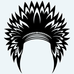 Native american indian headdress. Isolated on blue background. Vector silhouettes