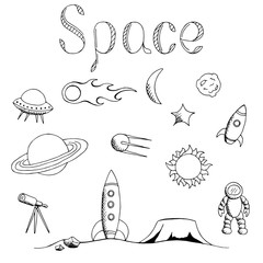 Space graphic set art black white isolated illustration vector