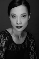 Beautiful asian woman beauty make up shot with dark gray background
