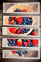Berries set on wooden background