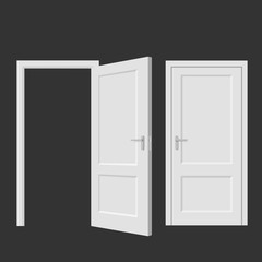 Isolated doors. Realistic vector illustration