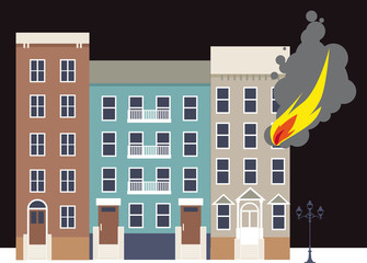Flame coming out of a window of an apartment building in the city, EPS 8 vector illustration
