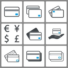 Set of credit card icons.