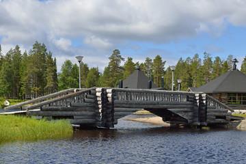 Log bridge over river north. Finland, Lapland