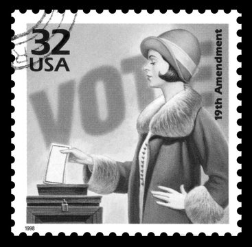 USA vintage 1970's postage stamp commemorating 50 years of the women's suffrage movement, black and white imag