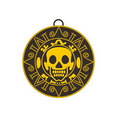 Aztec pirate gold coin icon, flat style