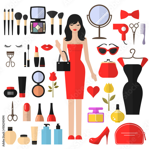 Beauty Cosmetic And Makeup Vector Flat Icons Set Beautiful Fashion Woman Flat Icon Cosmetic