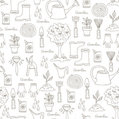Vector pattern with hand drawn garden tools on white color