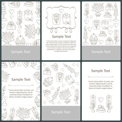 Vector set of cards with hand drawn symbols of wedding