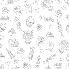 Vector pattern with hand drawn isolated symbols of wedding on wh