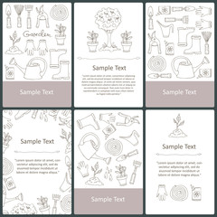 Vector set of cards with hand drawn symbols of garden and spring