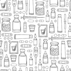 Vector hand drawn pattern on the theme of pharmacy, medicine on white color